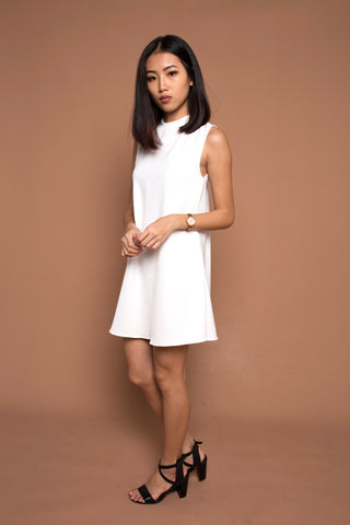 Basic High Collared Shift Dress in White