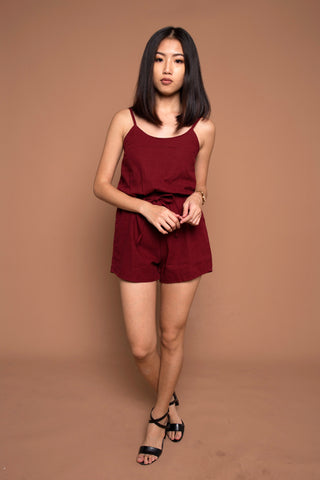 Drawstring Romper in Red