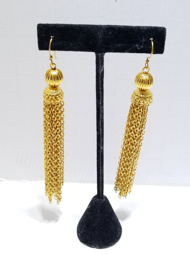 Vintage gold long tassel earrings - Sugar NY