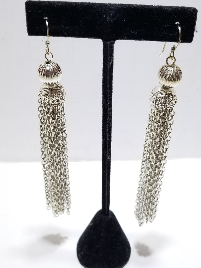 Fabulous vintage silver tassel long earrings - Sugar NY