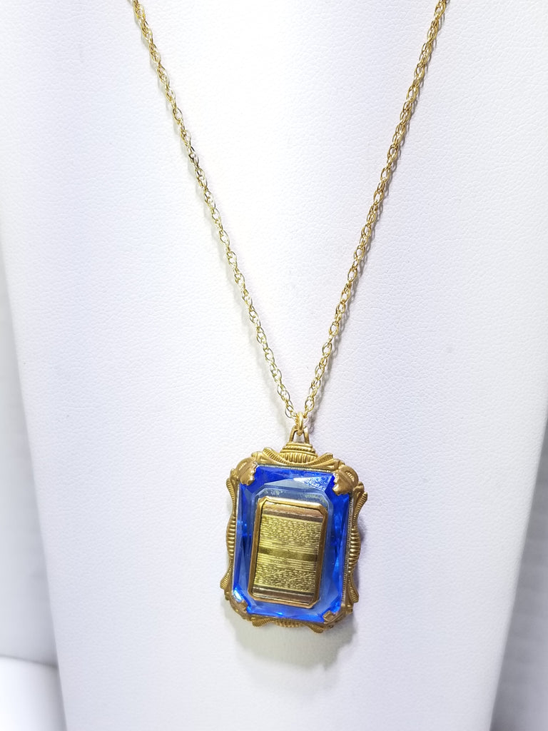 Amazing antique art deco edwardian 10ktgf blue camphor glass locket necklace - Sugar NY