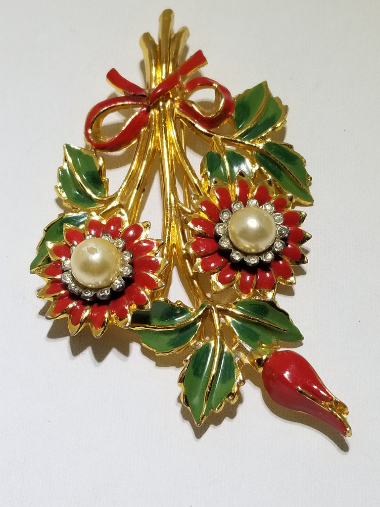 Fabulous huge 1940s enamel flower brooch - Sugar NY