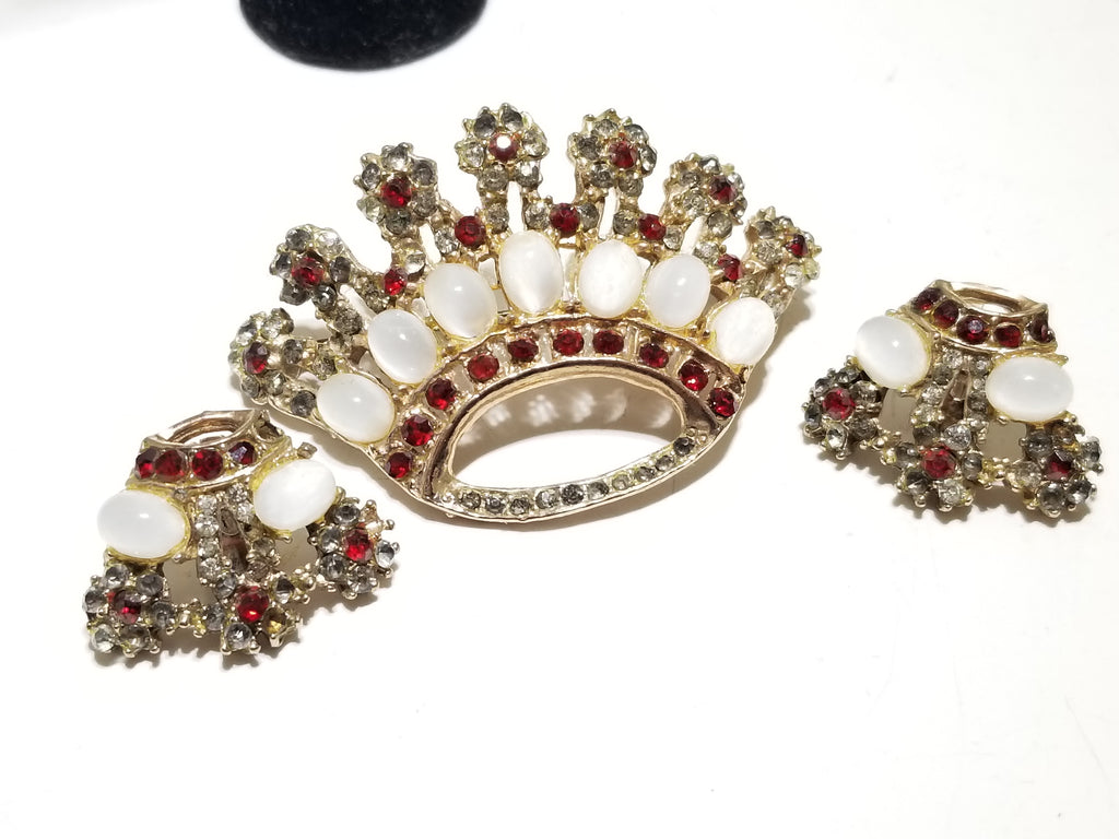 Fabulous estate jeweled crown brooch and earrings Trifari? - Sugar NY