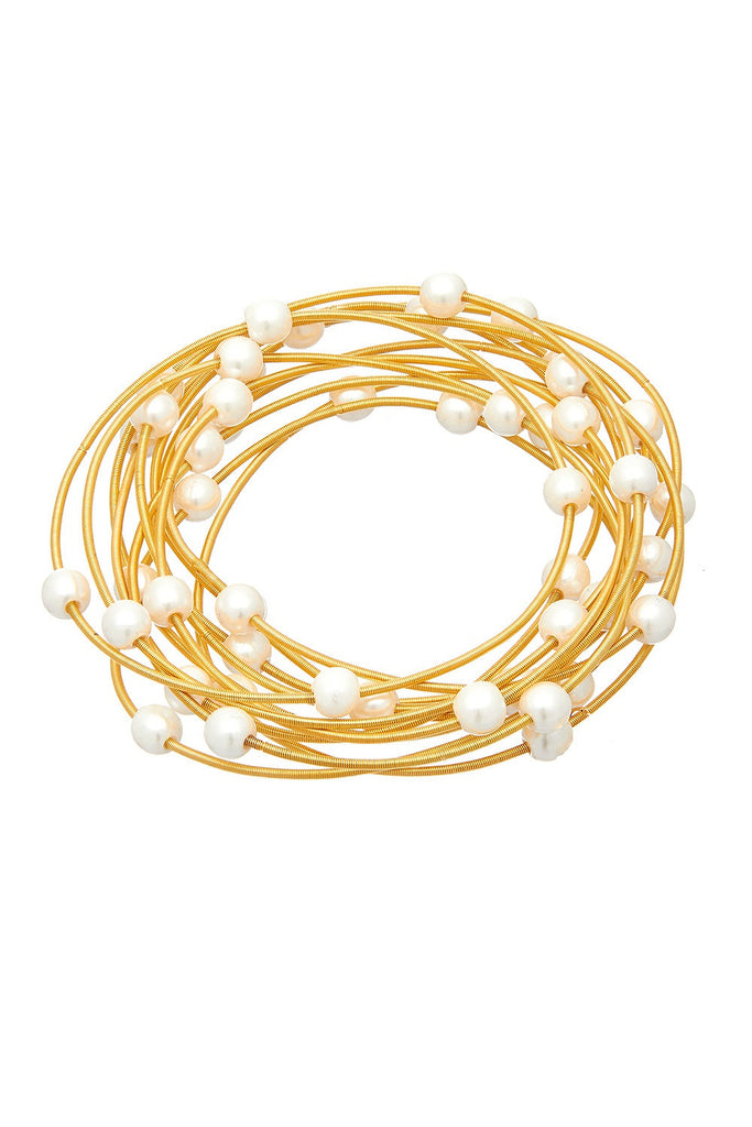 Sweet Marshmallow Gold Piano Wire Bracelet - Sugar NY