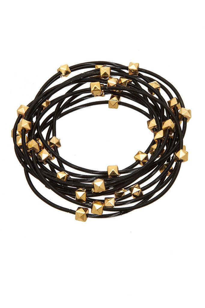 Sweet Tart Black Piano Wire Bracelet - Sugar NY