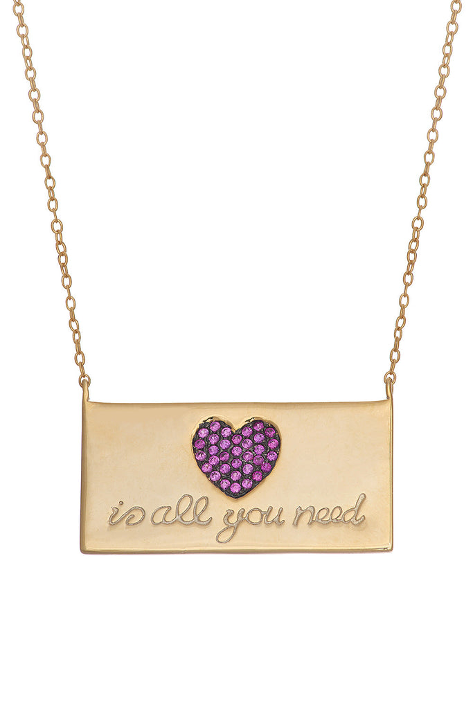 Sterling Love Plate Necklace - Sugar NY