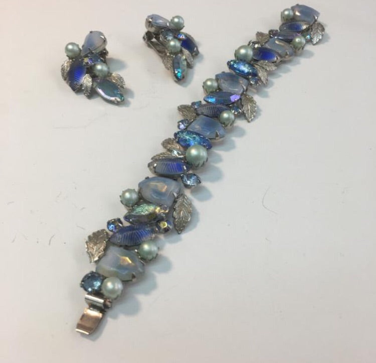 Vintage blue gray leaf bracelet & earring set - Sugar NY