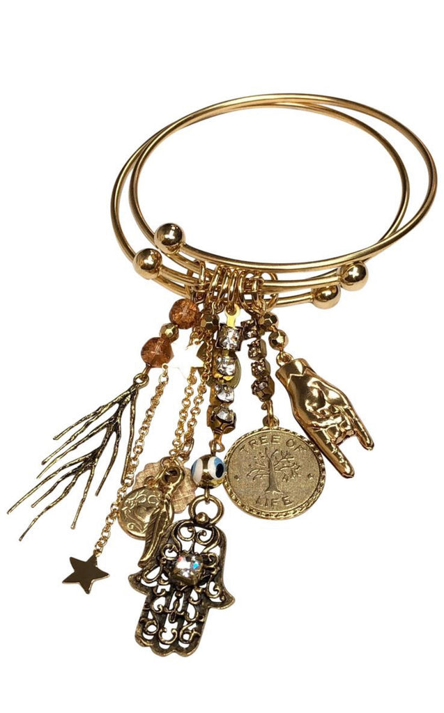 Double bangle vintage charm bracelet - Sugar NY