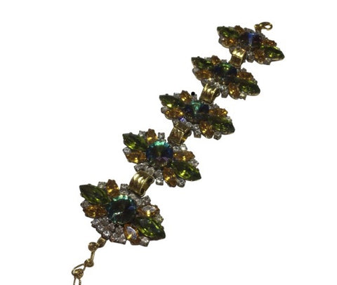 Vintage gold metal Leaf Brown Stone Bracelet