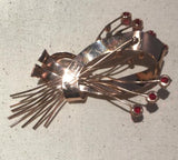 Vintage Corocraft Sterling Silver Red Stone Brooch Pin - Sugar NY