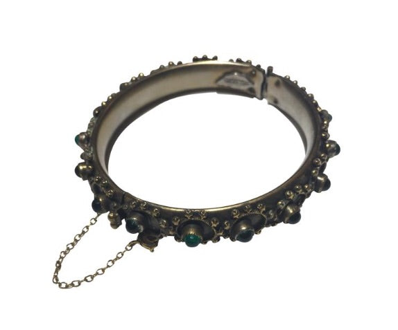 Vintage sandour green stone bangle Bracelet - Sugar NY