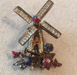 Vintage Corocraft Sterling Windmill Rhinestone Dress Fur Clip - Sugar NY