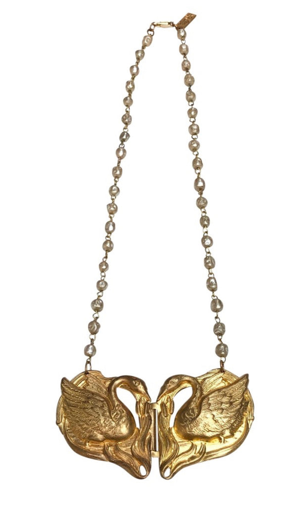 Vintage faux pearl chain double swan necklace - Sugar NY