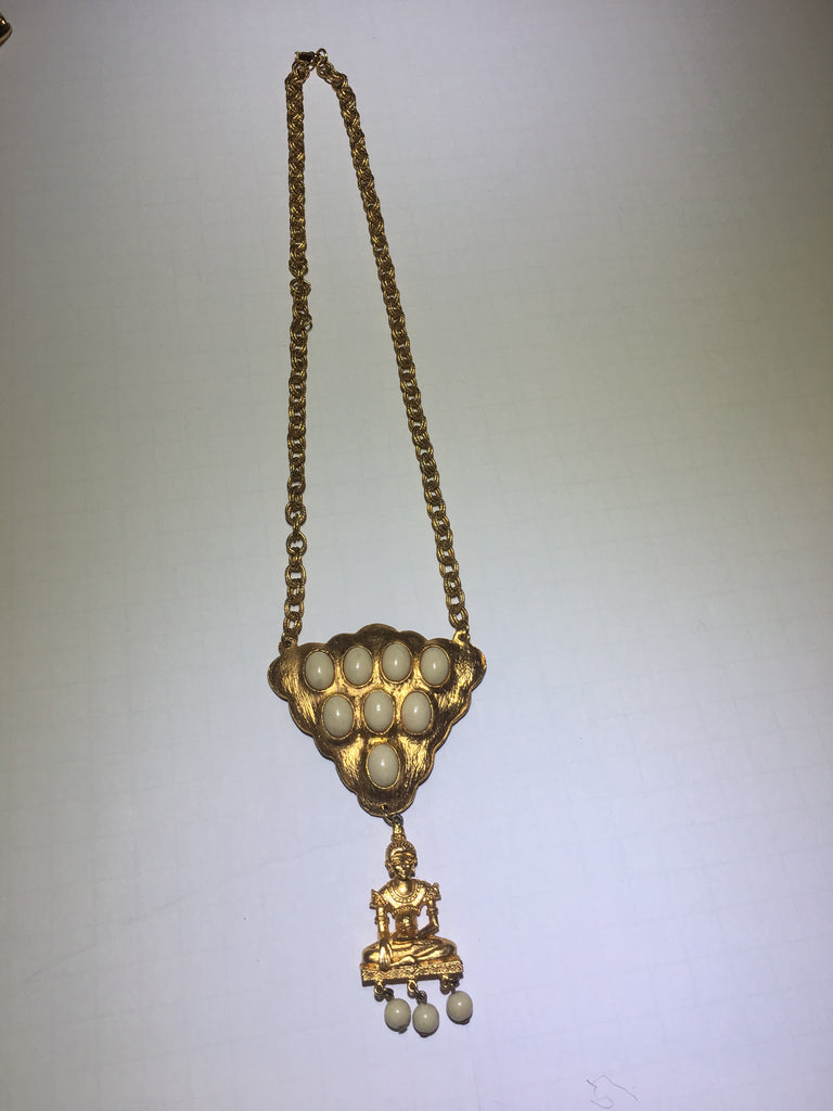 Vintage gold Buddha white beaded necklace - Sugar NY