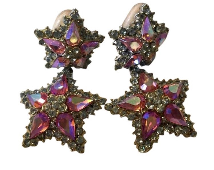 Vintage Thelma Deutch Clip On Rhinestone Flower Earrings - Sugar NY