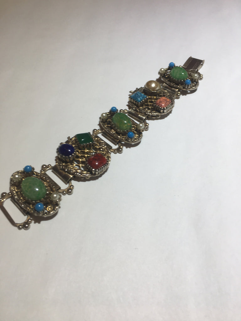 Vintage colorful stone gold book chain bracelet - Sugar NY