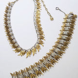 Vintage Francois rhinestone gold necklace & bracelet Set - Sugar NY