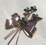 Vintage Coro Corocraft Sterling Silver Colorful Stone Brooch Pin - Sugar NY