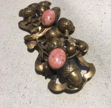 Vintage Art Nouveau Brass & Pink Marble Belt Buckle - Sugar NY