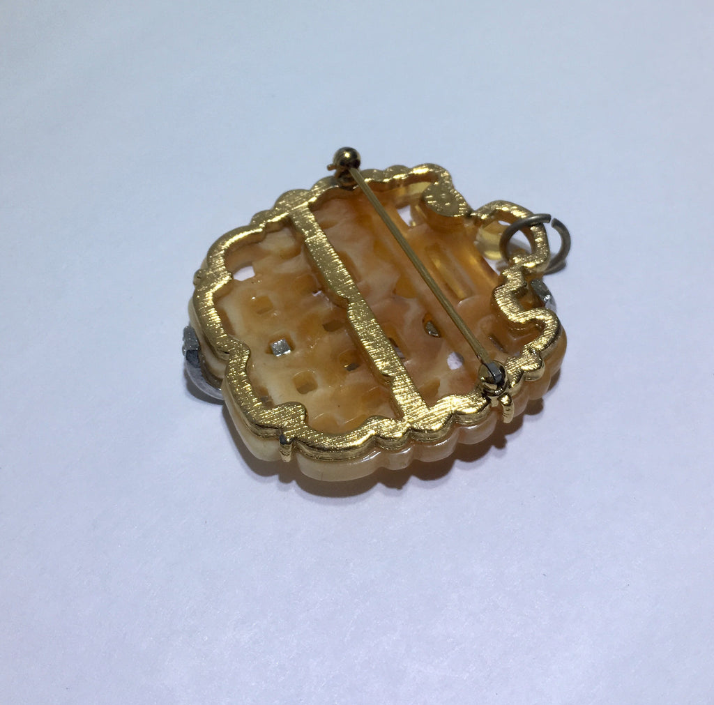 Vintage Kenneth Jay Lane Resin Crystal Pin Pendant - Sugar NY