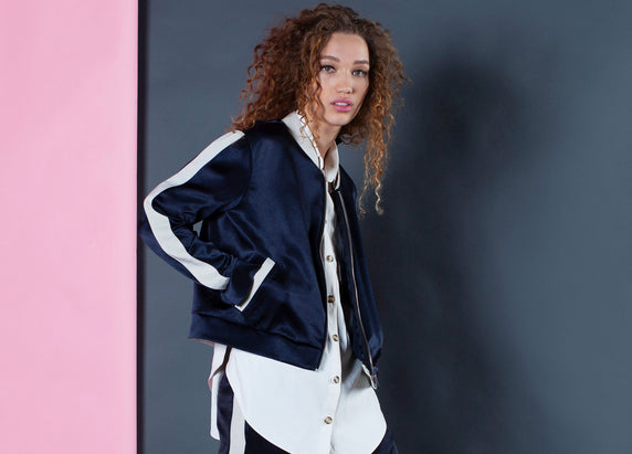 cropped bomber navy natural fabric sustainable serena bute clothing