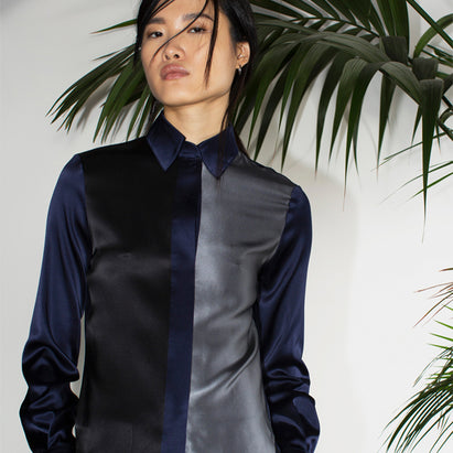 navy silk fitted shirt serena bute