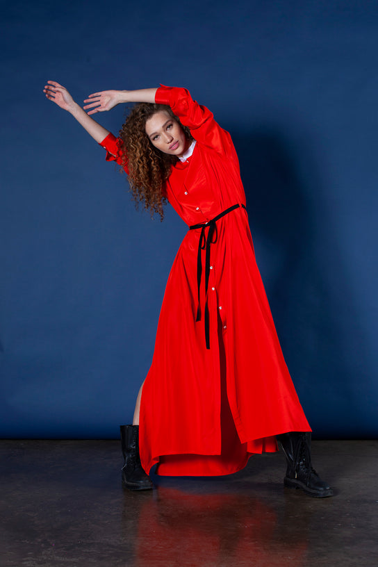 shirt dress red silk viscose for women by serena bute