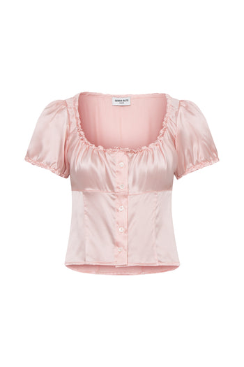 The Bodice Top - Dusky Pink Silk - SERENA BUTE