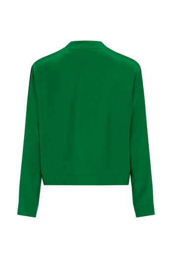 The Cropped Bomber - Emerald Green & Navy Silk - SERENA BUTE