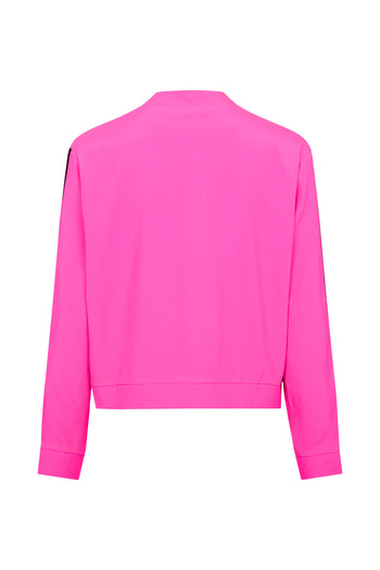 The Cropped Bomber - Shocking Pink & Black Silk - SERENA BUTE