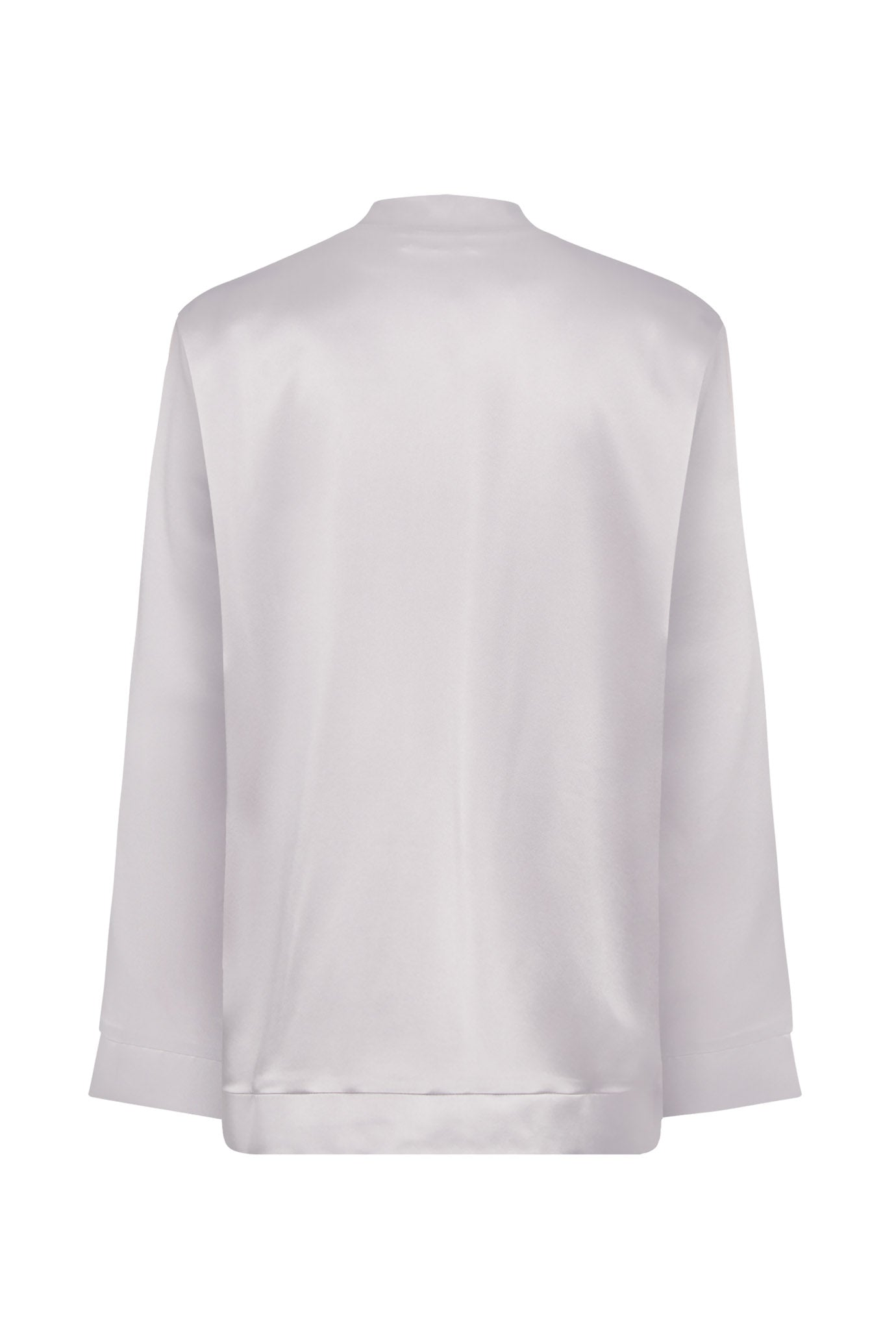 The Oversized Bomber - Silver & Dusky Pink Silk - SERENA BUTE