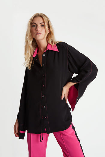 The Oversized Shirt - Black & Bubblegum Silk - SERENA BUTE