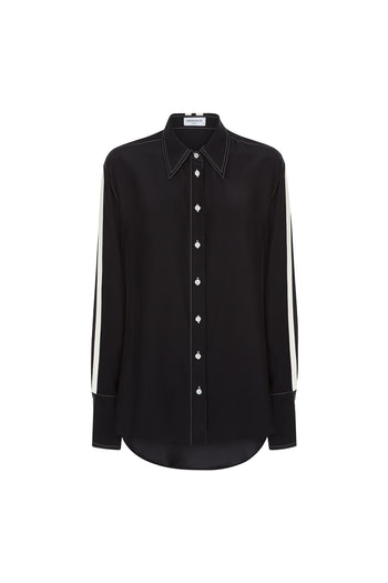 The Oversized Shirt - Black & Ivory Silk - SERENA BUTE
