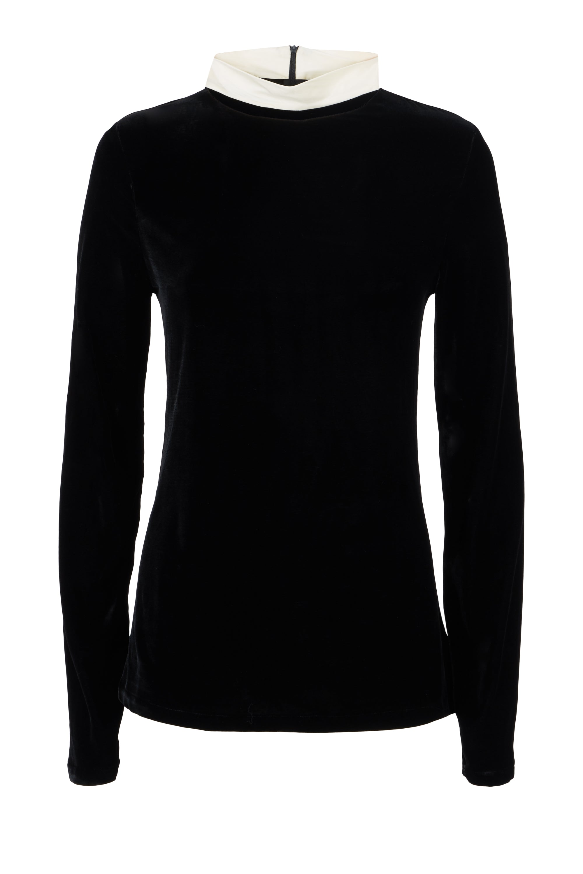 The Polo Neck - Black & Ivory Cream Velvet
