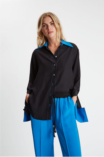 The Oversized Shirt - Black & Kingfisher Blue Silk - SERENA BUTE