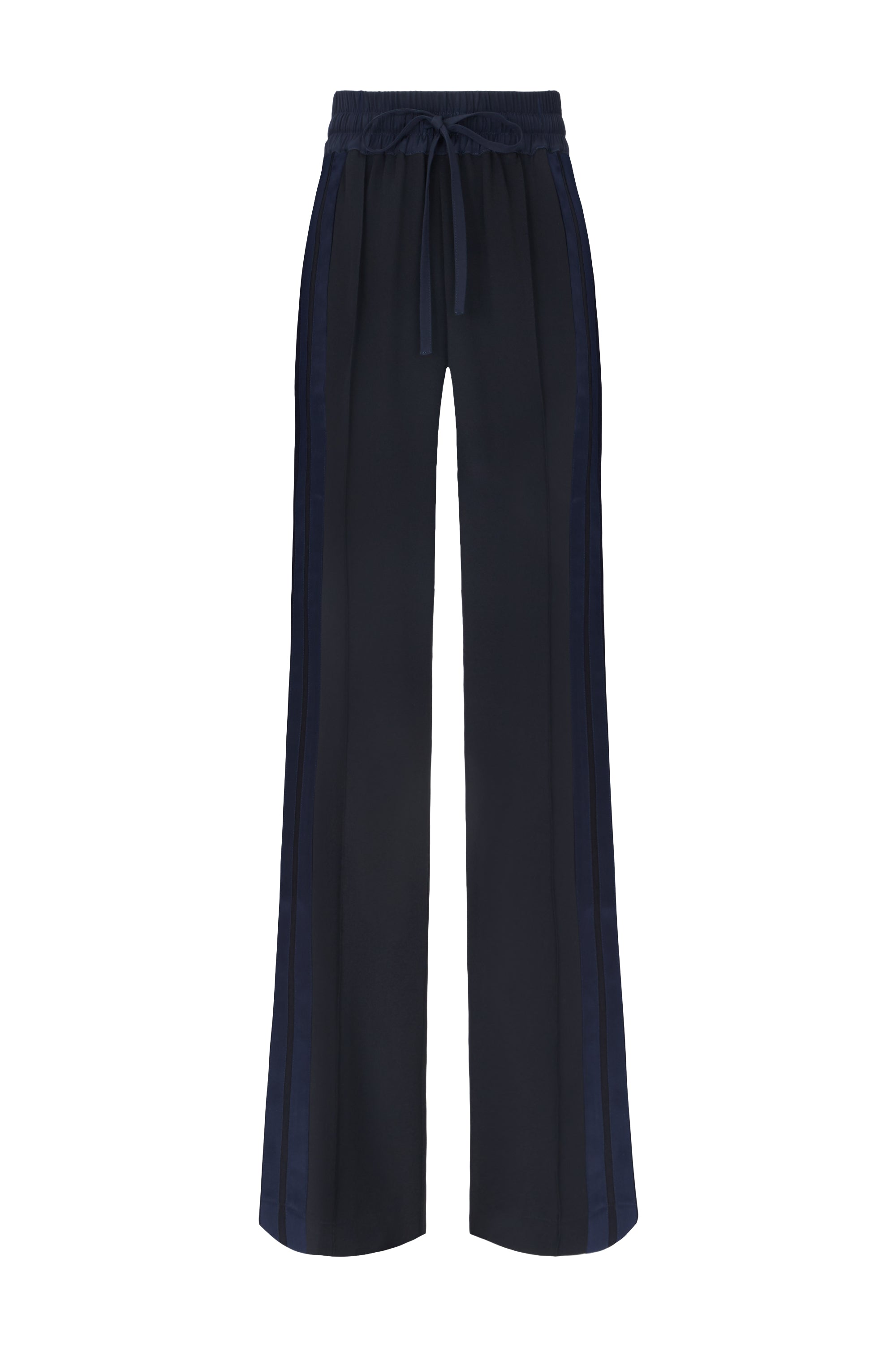 The Skinny Jogger - Black & Navy Silk - SERENA BUTE