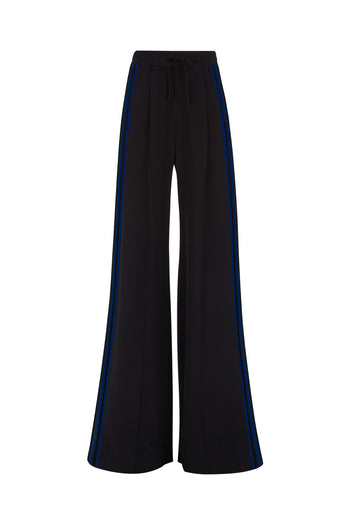 The Extra Wide Jogger - Black & Navy Silk - SERENA BUTE