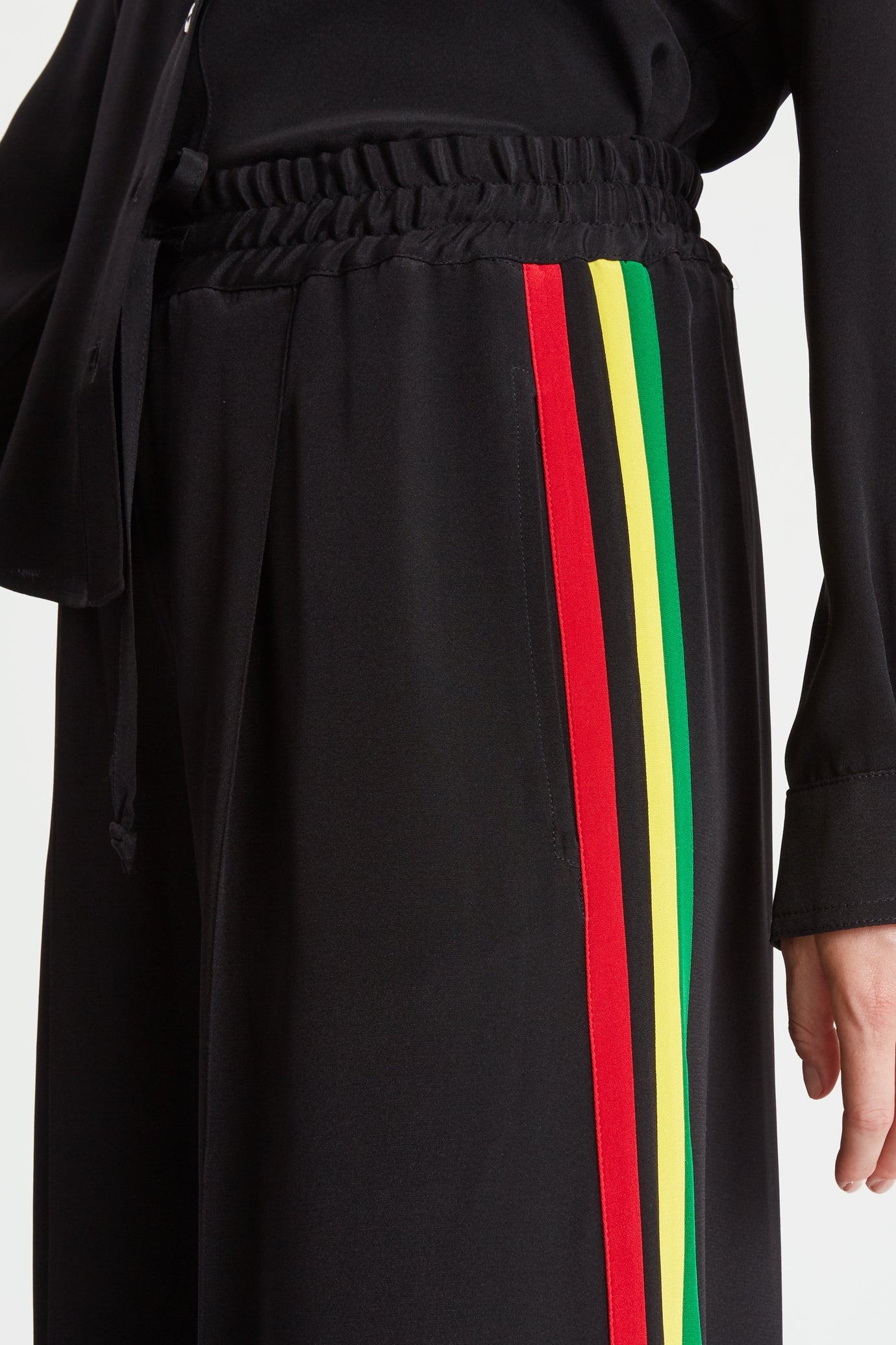 The Extra Wide Jogger - Black & Rasta/Jamaican Silk - SERENA BUTE