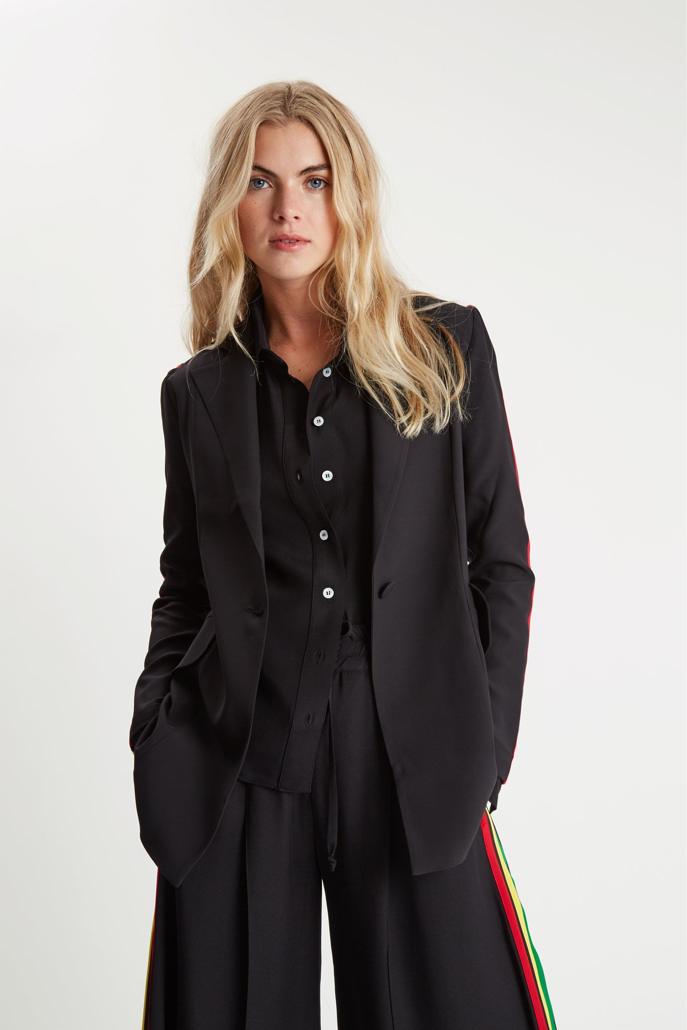 The Serena Suit Blazer - Black & Rasta/Jamaican Silk - SERENA BUTE