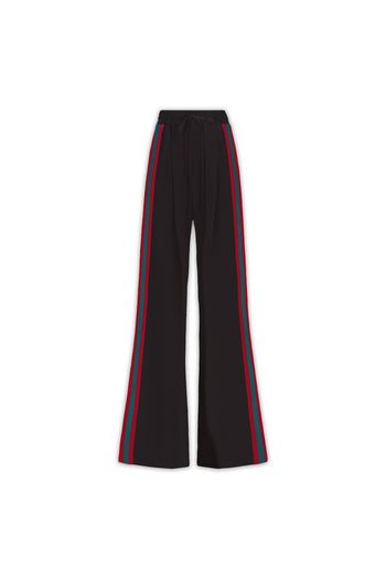 The Extra Wide Jogger - Black, Poppy Red & Green Silk