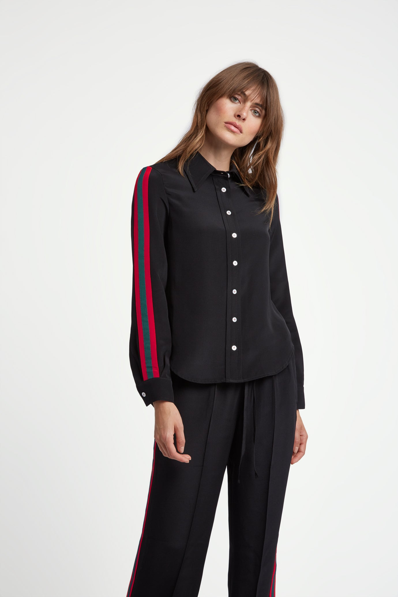 The Serena Shirt - Black, Poppy Red & Green Silk