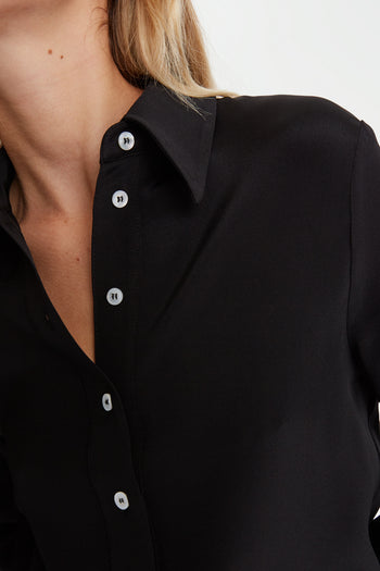 The Serena Shirt - Black Silk - SERENA BUTE