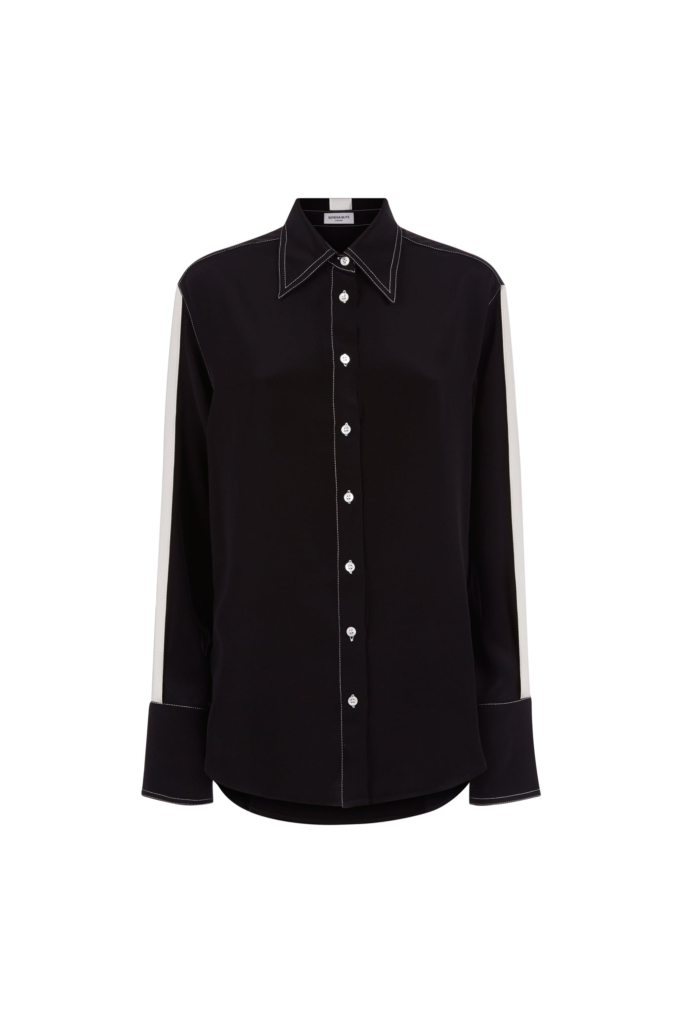 The Oversized Shirt - Black & White Stripe Silk - SERENA BUTE