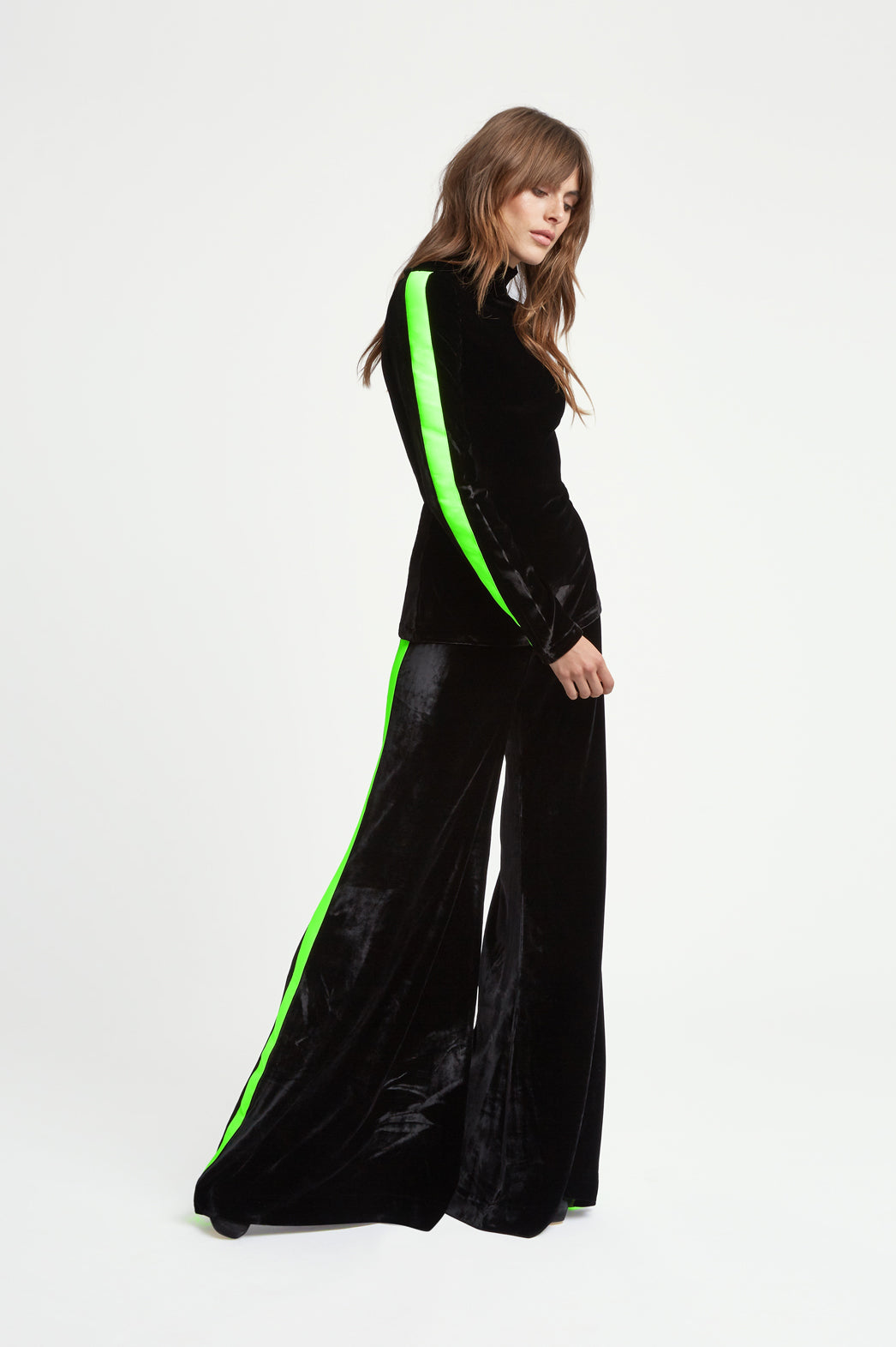 The Flare Trousers - Black & Fluorescent Green Stretch Velvet - SERENA BUTE