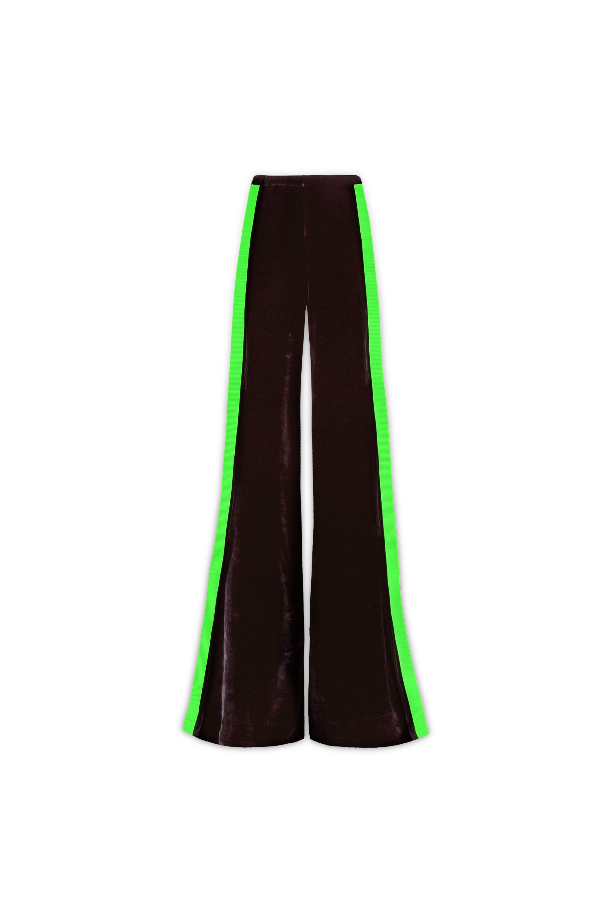 The Flare Trousers - Black & Fluorescent Green Stretch Velvet