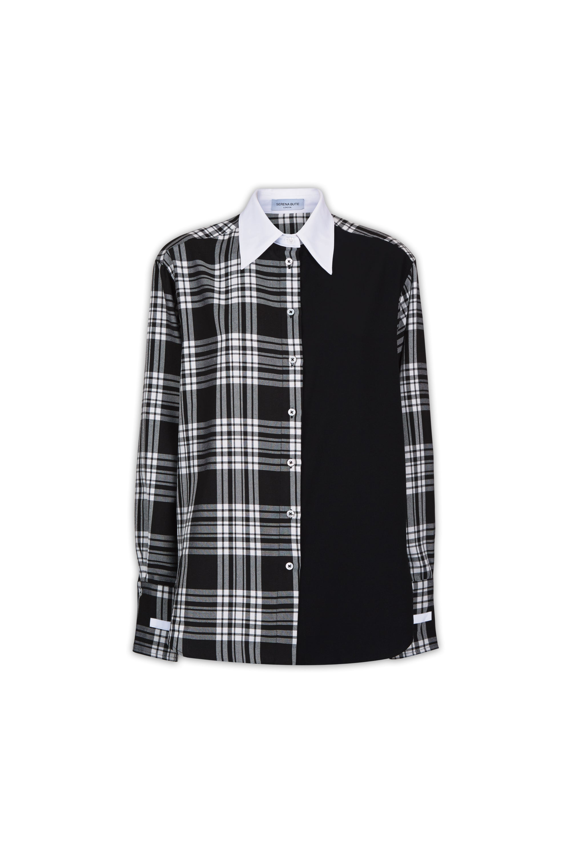 The Oversized Shirt - Black & White Plaid Cotton Two Tone - SERENA BUTE