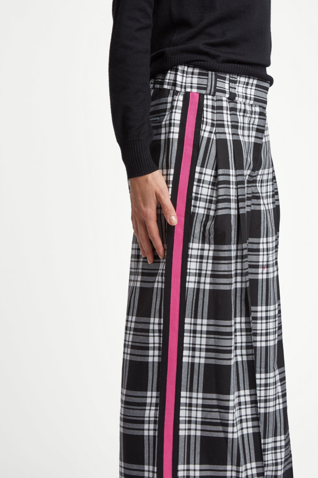 The Serena Trouser - Black, White & Shocking Pink Plaid Cotton - SERENA BUTE