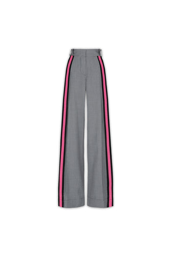 The Serena Trouser - Black, White & Shocking Pink Dogstooth Cotton
