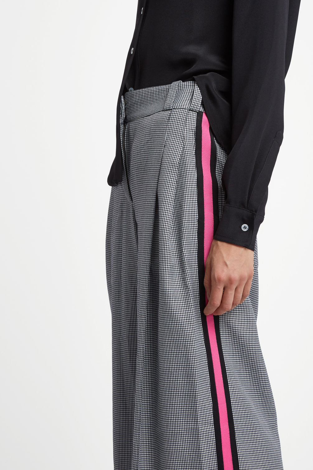 The Serena Trouser - Black, White & Shocking Pink Dogstooth Cotton - SERENA BUTE