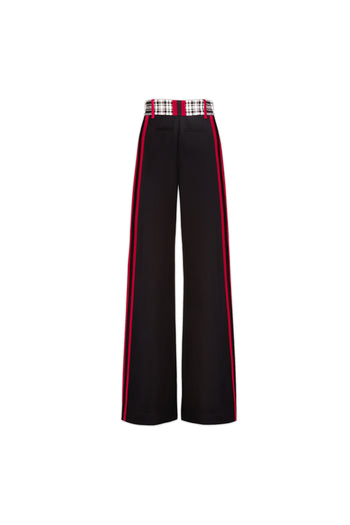 The Serena Trouser - Black, White & Poppy Red Two Tone Silk